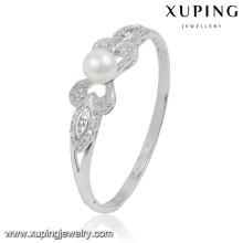 51500 moda elegante ródio CZ jóias com diamantes pulseira com pérola para as mulheres