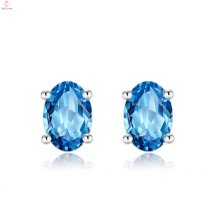 Women 925 Sterling Silver Blue Stone Stud Earrings