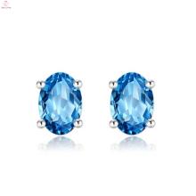 Mulheres 925 brincos de prata esterlina pedra azul