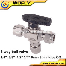 200bar stanless steel 316 full bore 3 ways ball valve for steam