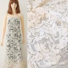 Cotton Yarn Ribbon on The Diamond Mesh Embroidery Fabrics to Fashion