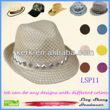 Cheap Newest Stylish Diamonds Decorative 100% Paper Straw Hat,LSP11