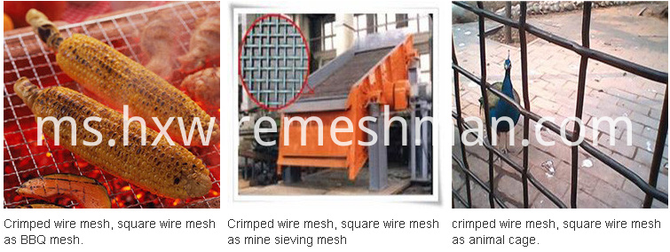 application of crimped wire screen