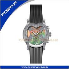 Heart Shaped High Quality Stainless Steel Jewelry Watch Silicone Band