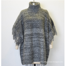 Fashion Turtleneck Batwing Sleeve Loose Knit Sweater for Women with Tassel