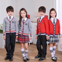 2017 Último uniforme de la escuela de las mangas largas del V-Cuello de la manera