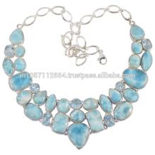 Gorgeouse синий топаз и Ларимар драгоценный камень с 925 серебряные ювелирные изделия ручной работы