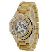 Novo estilo japão movimento automático de madeira moda watch bg438