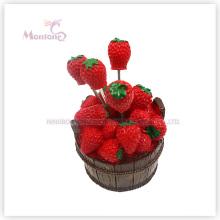 Prise de fruit de fourchette de fruit de conception de fraise en plastique de catégorie comestible de promotion