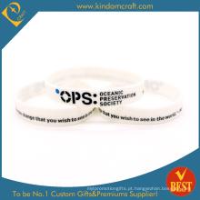 Bracelete impresso branco relativo à promoção feito sob encomenda do silicone, Wristbands de Rubberred (LN-02)