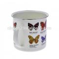 Logo printing custom Enamel butterfly mug food safty but no dishwasher