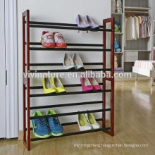 High Quality 3Tier Wood Frame Steel pipe Chromed Tubes Shoe Rack