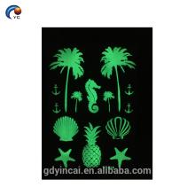 Fluorescence Party Sticker Tatuagem Temporária, Glow in the Dark Series com não-tóxico