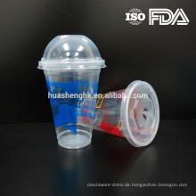 Qualitäts-Nahrungsmittelgrad-durchsichtiger Plastikwegwerfgeschenk 12oz / 360ml des Smoothies mit Deckeln für Großverkauf