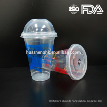 Tasses jetables en plastique claires de smoothie de la catégorie comestible 12oz / 360ml de qualité comestible avec des couvercles pour la vente en gros