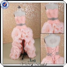 JJ2958 Sweetheart Crystals Sash front short and long back Pink Wedding Dresses