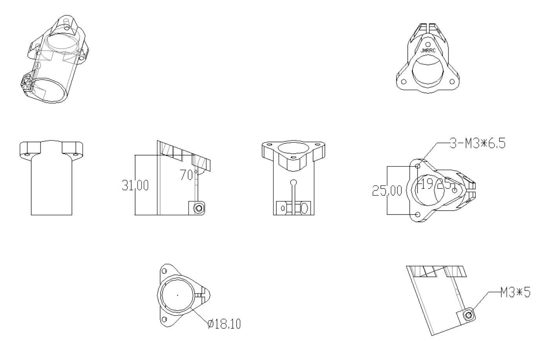 18 mm Multi Rotor Landing Gear Mount dimension