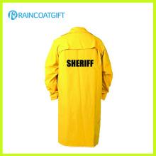 Gelbe PVC-Polyester langer Regenmantel mit Hülse Rpp-006