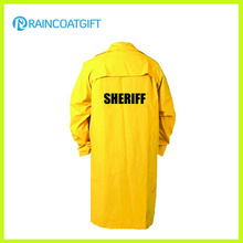 PVC Jaune Polyester Long Raincoat avec Manche Rpp-006