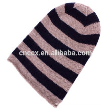 15STC4004 cashmere striped crochet beanie