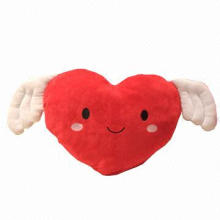 Cute Plush Red Heart Pillow Cushion Toy with Wings for Wedding Gift