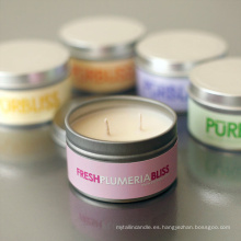 Vela pura perfumada de alta calidad de la lata del aroma de la soja del estallido del metal de la alta calidad