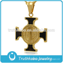European Style Stainless Steel Religious Jewelry St. Holy Crucifix Pendant Black Enamel Gold Jesus Cross Necklace