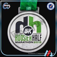 5k hoosier demi marathon médaille de sport de l'alliage de zinc 2016