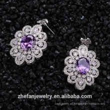14 K oro sólido mujeres facy diseño pendientes de cristal