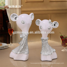 Resin Animal Couple Crafts Modern Home Ornaments Colorful Animal Figurine