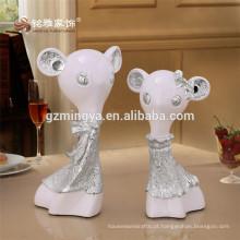 Resina Animal Couple Crafts Modern Home Ornaments Colorful Animal Figurine