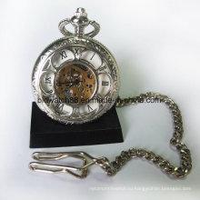 Мода Дамы Карманные Часы Ожерелье Кулон Серебряный Тон