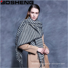 Women′s Swallow Gird Plaid Jacquard Thick Wool Shawl Large Scarf