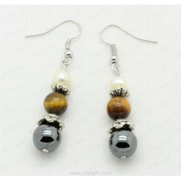 tiger eye round beads hematite fashion earring
