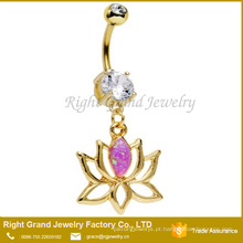Anel de aço cirúrgico chapeado ouro da barriga de Lotus do Opal cor-de-rosa