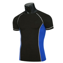 Wholesale Short sleeve Contrast Color Men Compression Sportswear