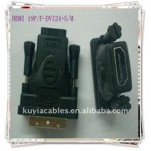 Oro plateado DVI-D doble enlace macho a HDMI adaptador hembra DVI 24 + 5