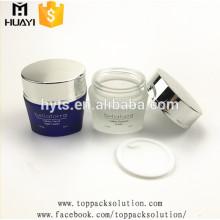 50g coloré givré triangle forme crème verre cosmétique pot avec couvercle