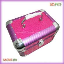 Lustroso acolchoado PVC linda caixa de vaidade de maquiagem de alumínio com bloqueio (saccom102)
