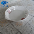 Opal Glass Pressing Round Plate With Handle