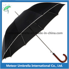 Good Quality Straight Automatic Open Wooden Handle Men Umbrella