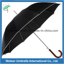Зонтик хорошего качества с прямой открытой деревянной ручкой хорошего качества