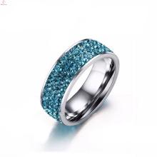 Anéis azuis românticos de aço inoxidável feitos sob encomenda de Indonésia dos pares com pedra