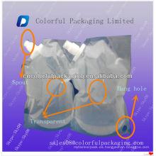 Bolsa de líquido transparente de 2L con bolsa de plástico para verter / agua / Bolsa de agua caliente para bebidas, refrescos y jugos
