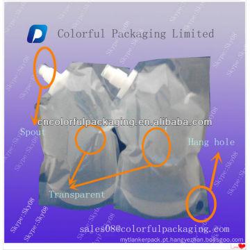 2L Transparente Líquido stand up pouch com bico / água saco de embalagem de bico de plástico / Bico bolsa para bebidas & refrigerantes & suco