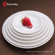 Banquete de hotel utilizado vajilla porcelana placa de cerámica blanca