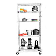 Chrome Metal Restaurant Kitchen Wire Storage Shelving Rack with Wheels