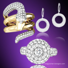 Fashion 18k Gold Jewelry Ring/Earring 925 Silver