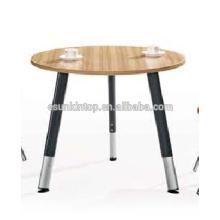 Heißes modernes rundes Büro Schreibtisch weiß und Teakholz Polsterung, Pro Büromöbel Lieferanten (JO-8072)