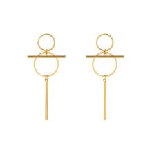 E-662 xuping design exclusivo 24k ouro cor de aço inoxidável simples senhoras brincos